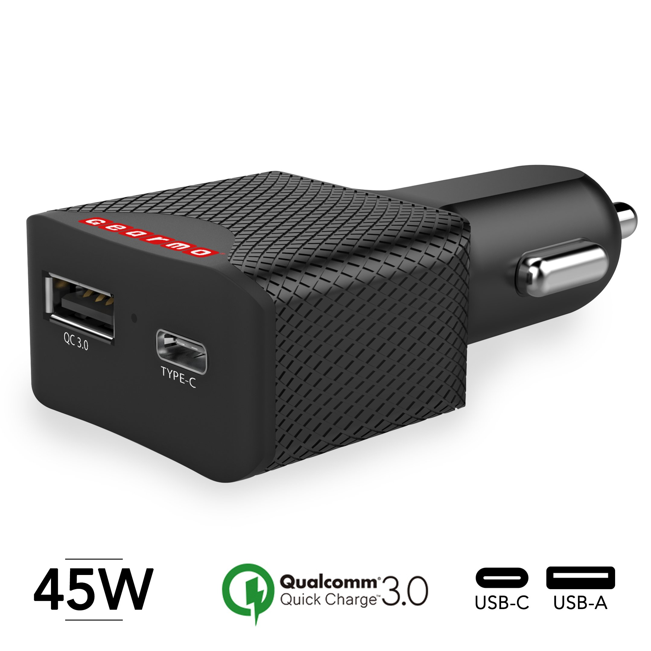 Gearmo USB Type-C PD 60W Total Output 45 Watt Car Charger for Laptops