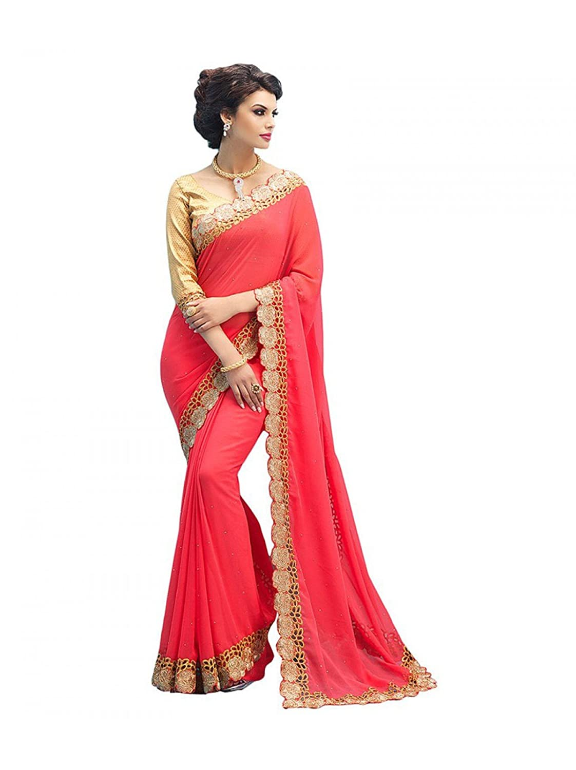 0e69007e0c Saree for women's and girls Pink embroidered georgette saree with blouse  piece: Amazon.in: Clothing & Accessories