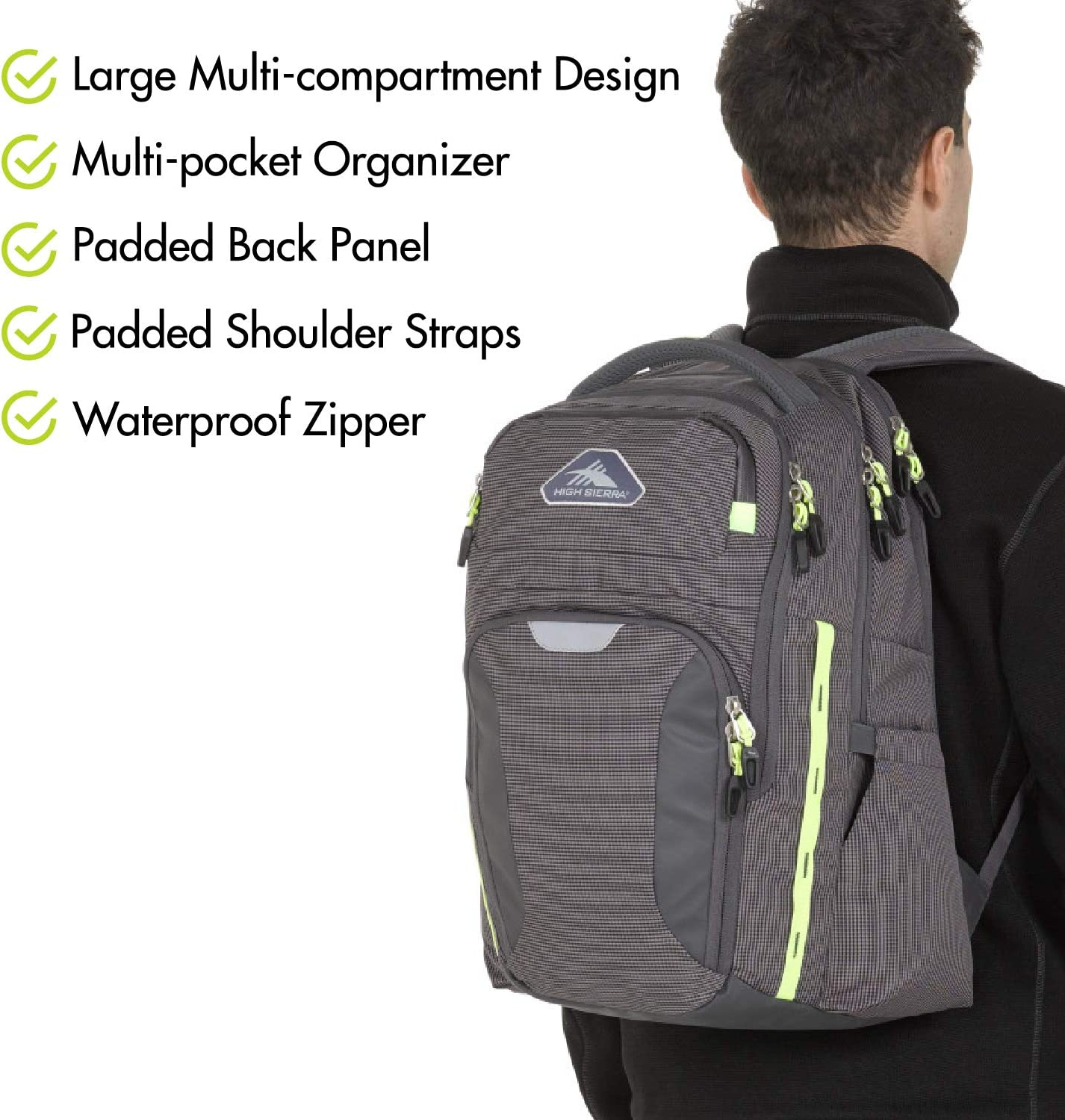 High Sierra Autry Backpack, 15.5-inch Laptop Backpack, Ideal for High School and College Students
