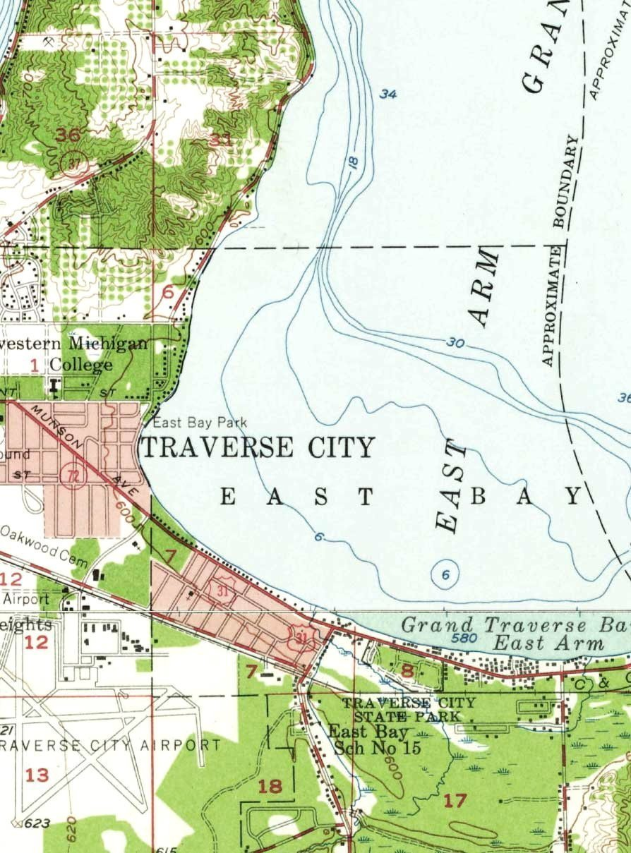 Amazon Grand Traverse Bay Michigan 1957 USGS Old Topo Map