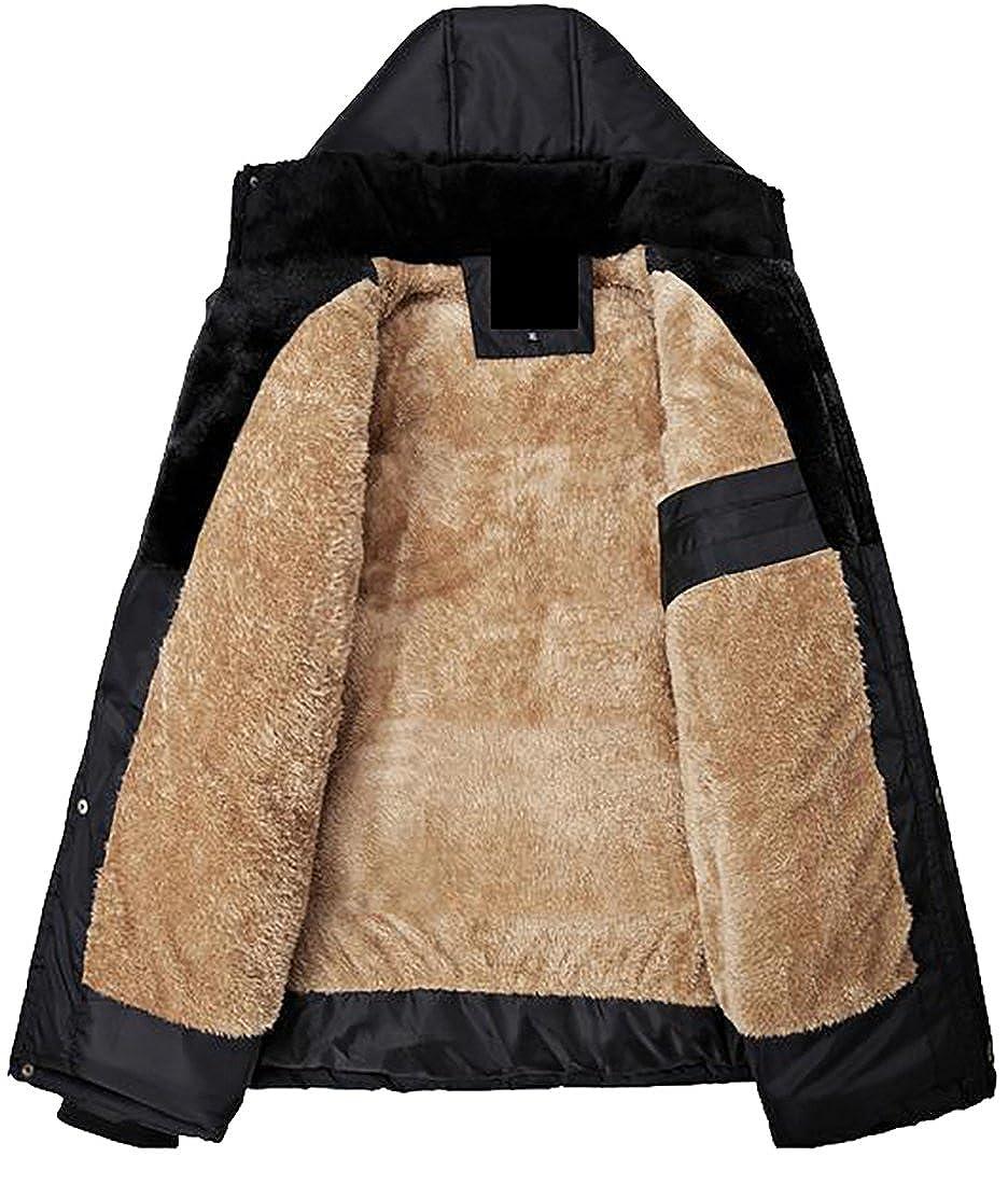 Pivaconis Mens Fleece Lined Warm Hooded Casual Outwear Winter Jacket Coats
