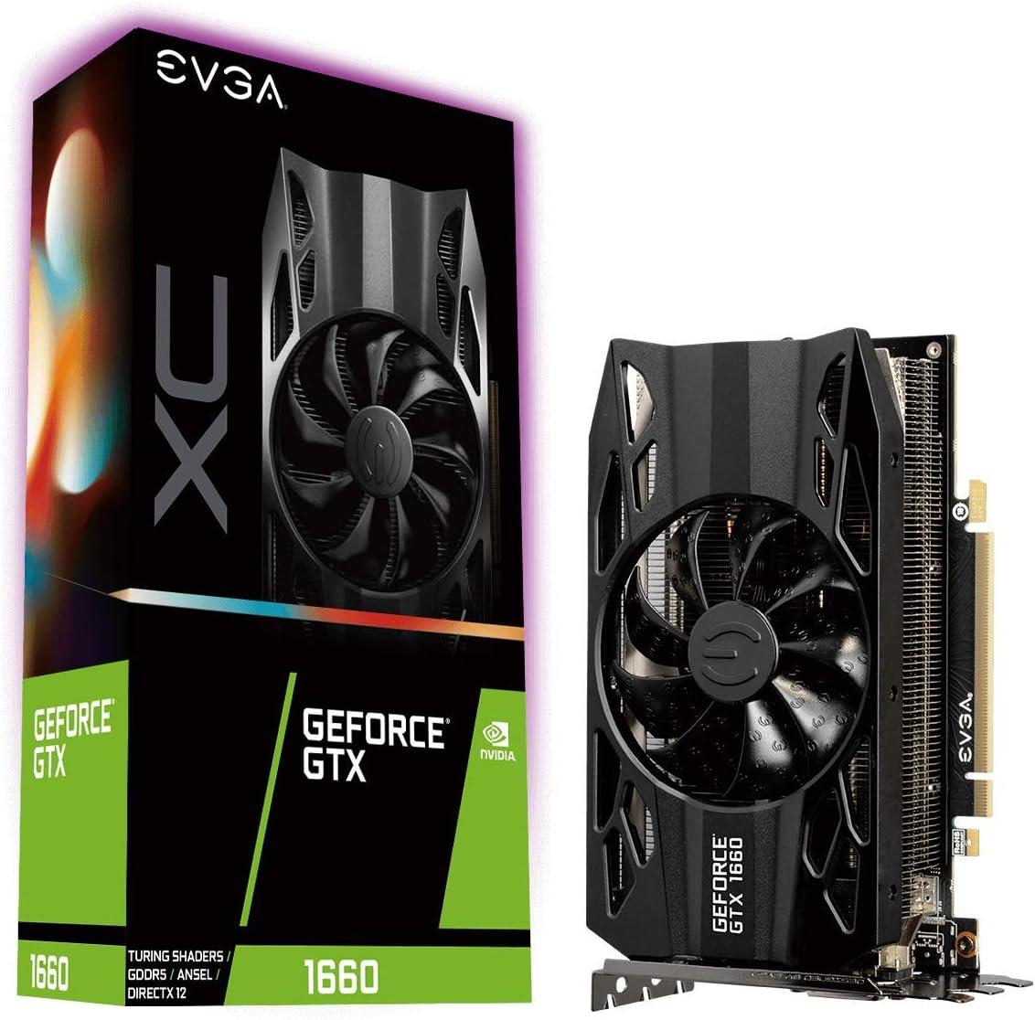 EVGA GeForce GTX 1660 XC Gaming - Tarjeta gráfica 6 GB GDDR5, HDB Fan (06G-P4-1163-KR)