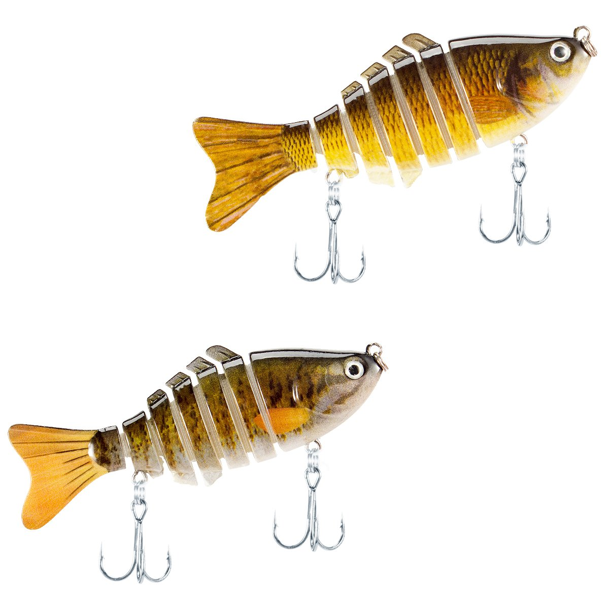 PAMASE 2 paquetes de cebos de señuelo de pesca – 3,9 pulgadas Multi unidos realistas de nadar duro artificial de agua salada y agua dulce para bajos, trucha