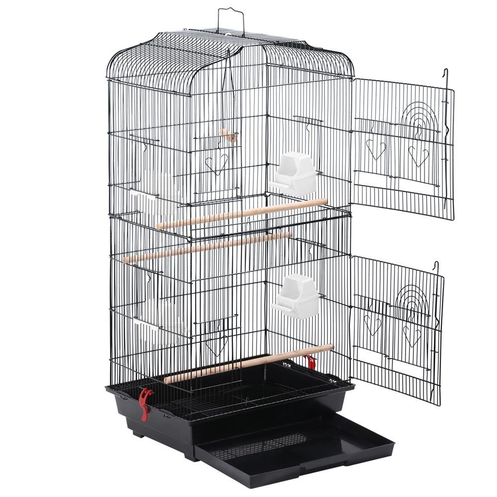 go2buy Large Birdcage Parrot Cockatiel Canary Cage,18x14x36 Inches (Black) by go2buy