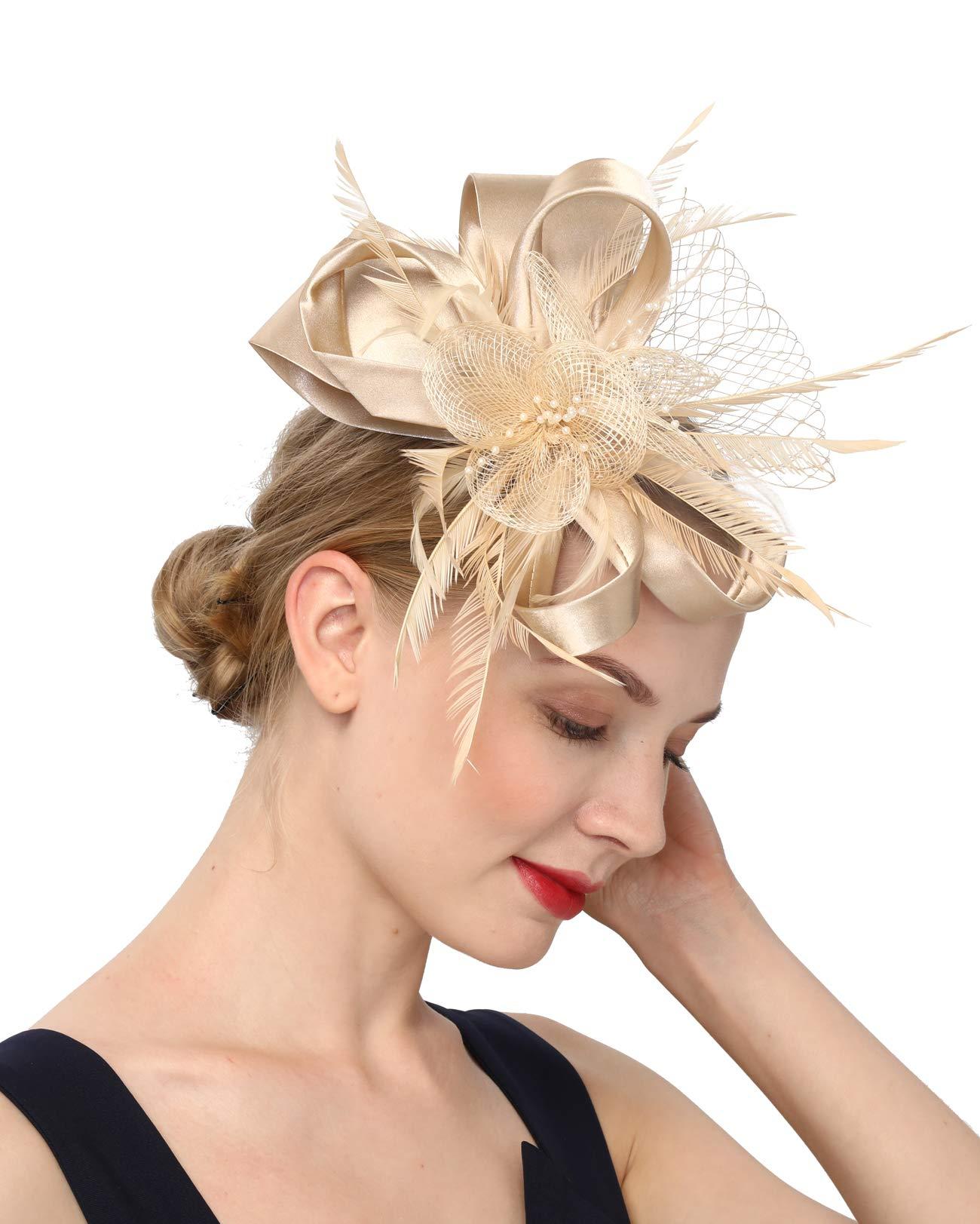 Women's Fascinators Hat Hair Clip Feather Wedding Headware Bridal 1920s Headpiece (S4-champagne) by Cizoe