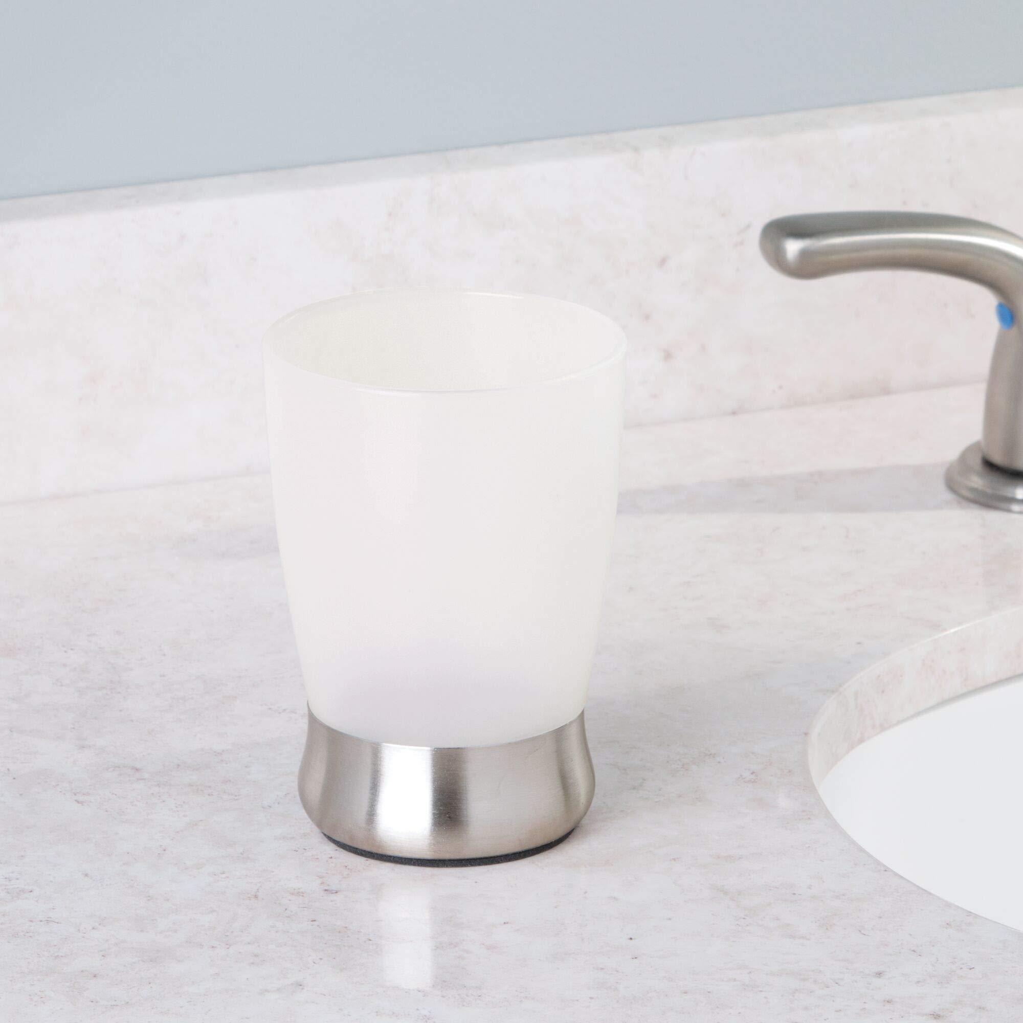 InterDesign Lusso Bath Collection, Tumbler Cup for Bathroom Vanity Countertops - Clear/Brushed Stainless Steel by InterDesign