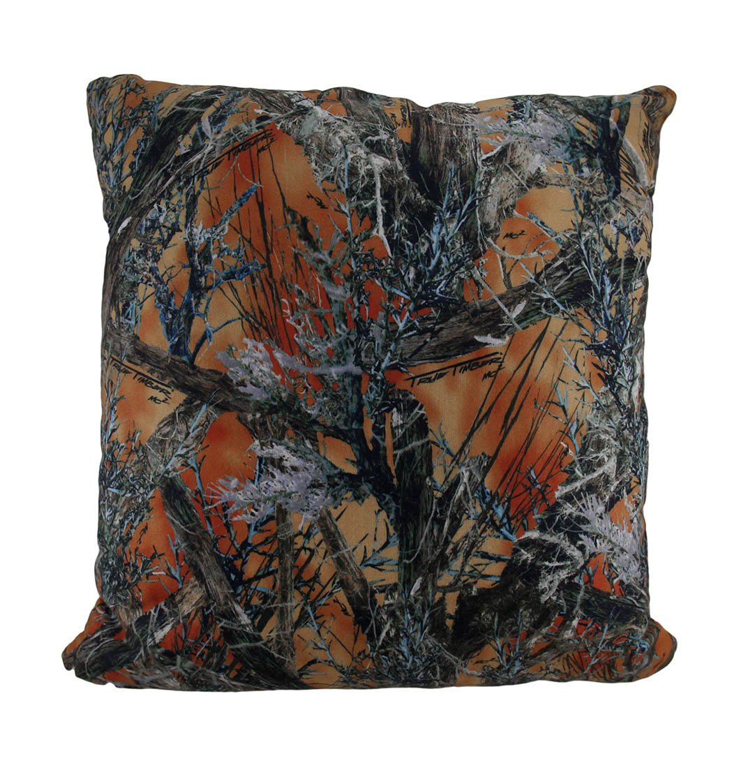 Zeckos Polyester Throw Pillows Orange Mc2 True Timber Camo Sherpa Microfiber Throw Pillow 18 in. 18 X 18 X 7 Inches Orange