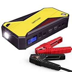 DBPOWER 600A Peak 18000mAh Portable Car Jump Starter (up to 6.5L Gas 5.2L Diesel Engine) Battery Booster with Smart Charging Port (Black/Yellow)