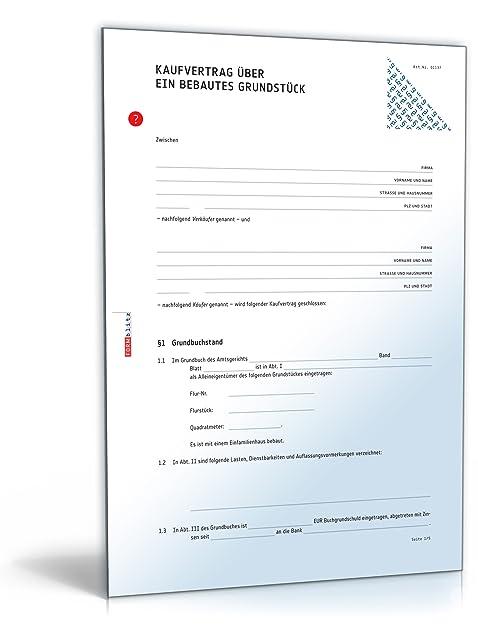 Kaufvertrag Haus (PDF) - Vertrag für Immobilie oder bebautes ...