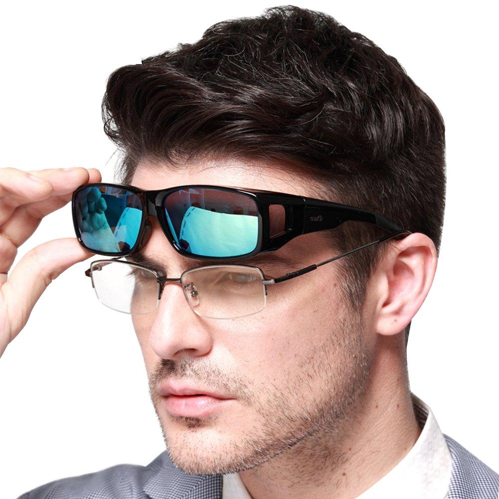 DUCO Unisex HD Wraparound Prescription Glasses Polarized Sunglasses 8954(L Size Black Frame Revo Blue Lens) by DUCO