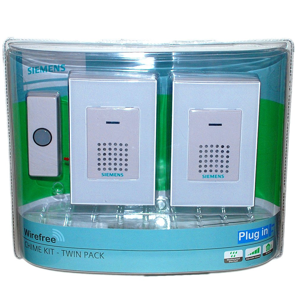 SIEMENS® Wirefree Wireless Twin Doorbell Door Chime Kit Plug in with Light Up IP44 Water Resistant Push White - Upto 80m Range Amazon.co.uk Kitchen u0026 Home  sc 1 st  Amazon UK & SIEMENS® Wirefree Wireless Twin Doorbell Door Chime Kit Plug in with ...