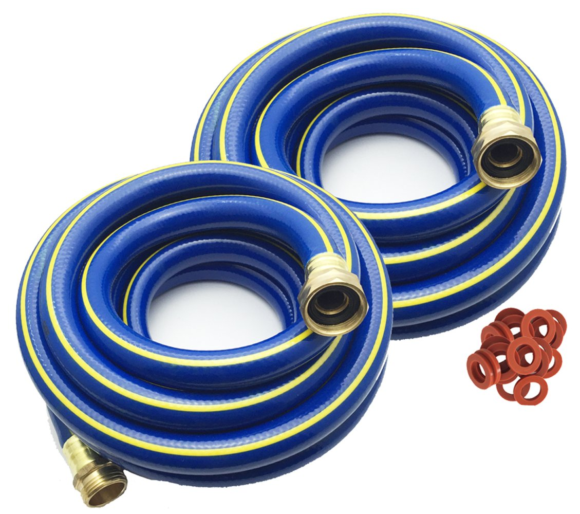 KAPOK Garden Hoses with Brass Fitting Connectors Varies Sizes and Colors 15FT 2PK, Blue//Yellow