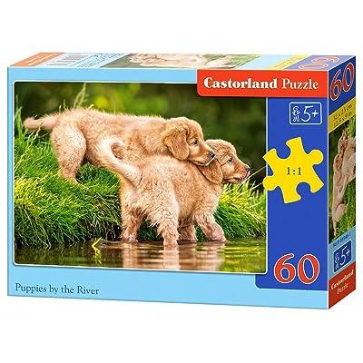 Castorland B-06946-1 - Puzzle - Chiots Au Rivière - 60 Pièces