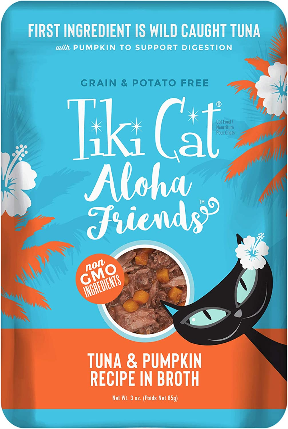 Tiki Cat Aloha Friends Grain-Free, Low-Carbohydrate Wet Food with Flaked Tuna for Adult Cats & Kittens, 3oz pouch, 12pk, Tuna & Pumpkin