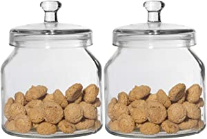 Glass Cookie Jar Set of 2 – Airtight Candy Jar with Rubber Lid – Round Flour and Sugar Canister By Home Essentials & Beyond – Storage Jar for Dry Food, Biscotti, Candies etc. – Apothecary Jars.
