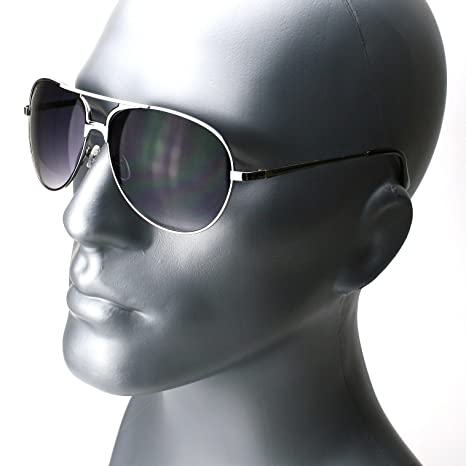 8c7c446e85a4 Image Unavailable. Image not available for. Color  Silver Brown Classic  Retro Mens Fashion Metal Aviator Vintage Designer Sunglasses