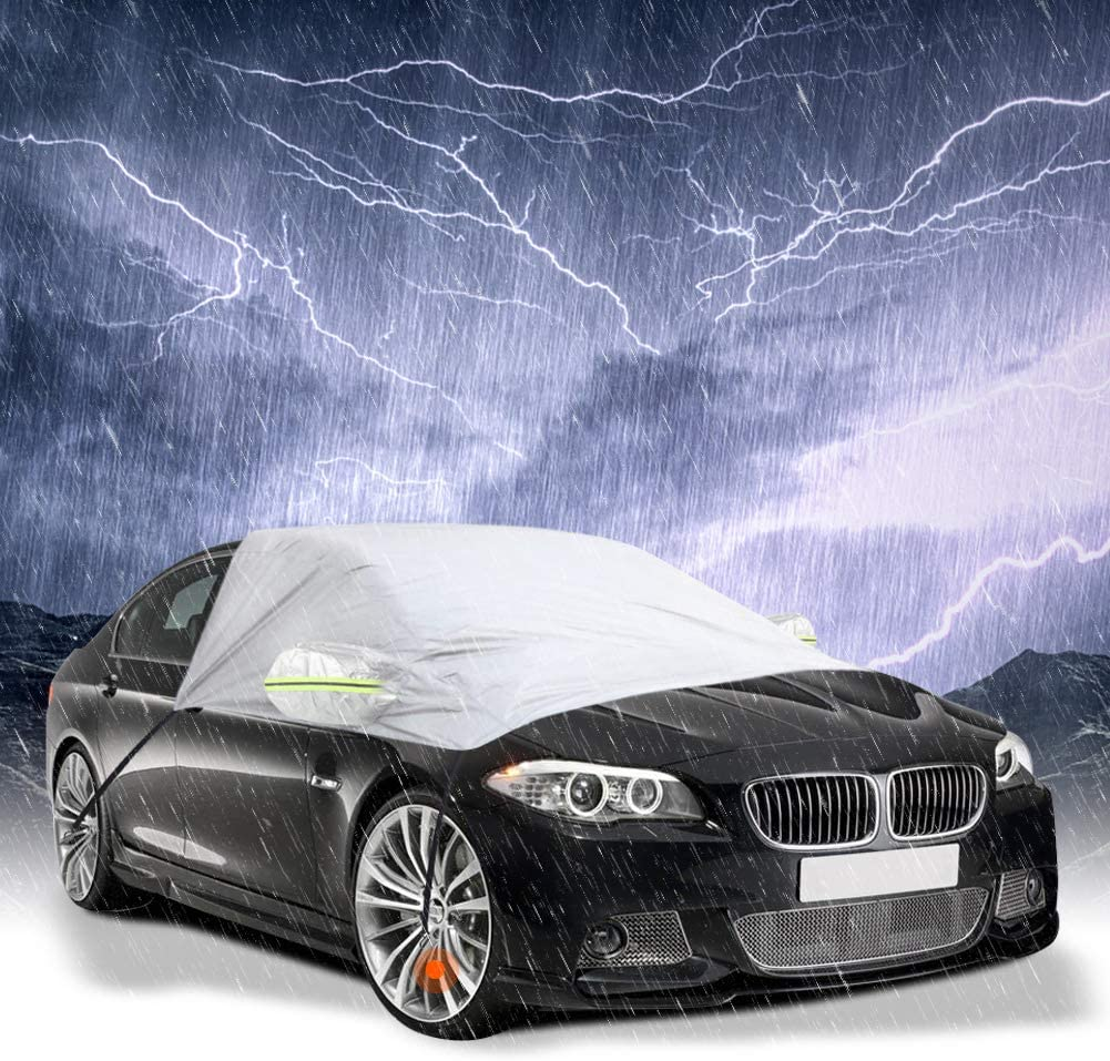 GES Car Windshield Cover Sunshade Dust Frost Cover Blocks UV Rays Protection Snow Waterproof Windshield Snow Cover for Most Cars 96x77x65 Inch Ice
