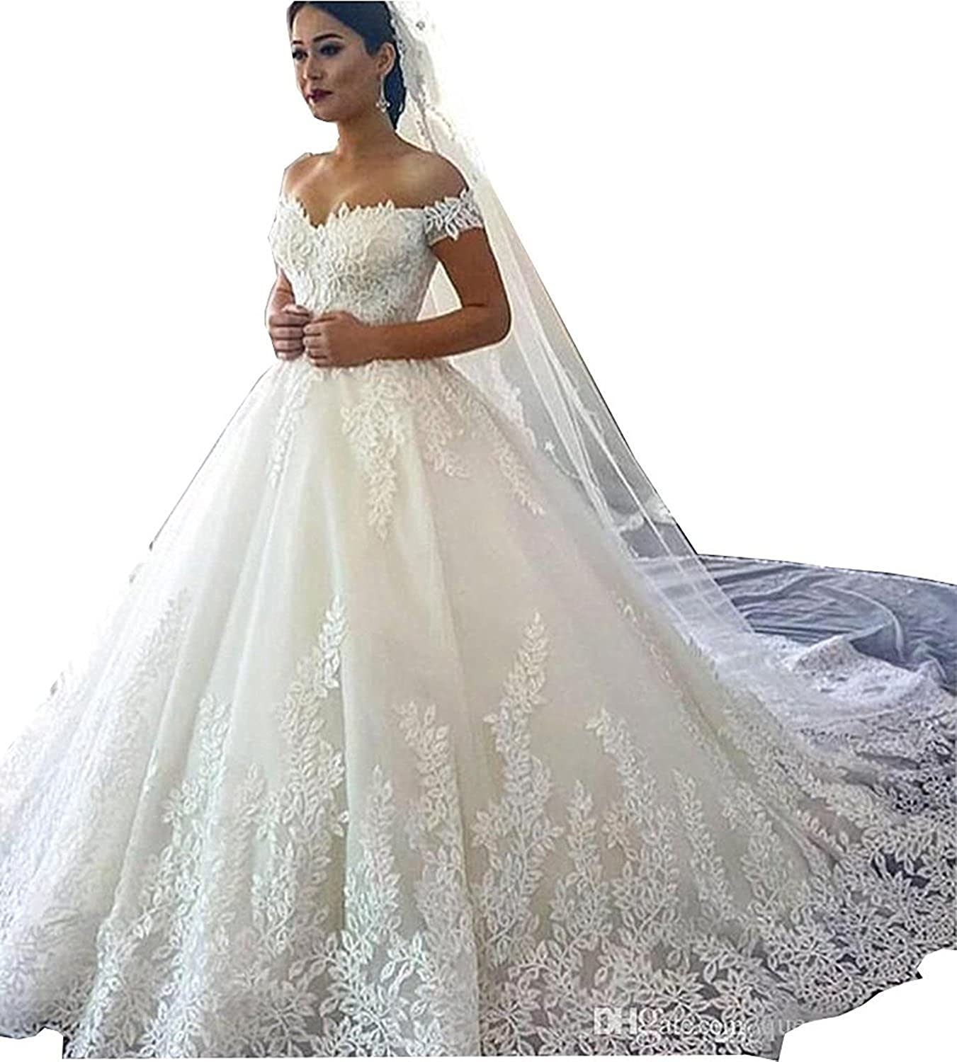 eb6e8ead3a0 Yilian Women s Lace Wedding Dresses for Bride 2018 Ball Gowns White at  Amazon Women s Clothing store