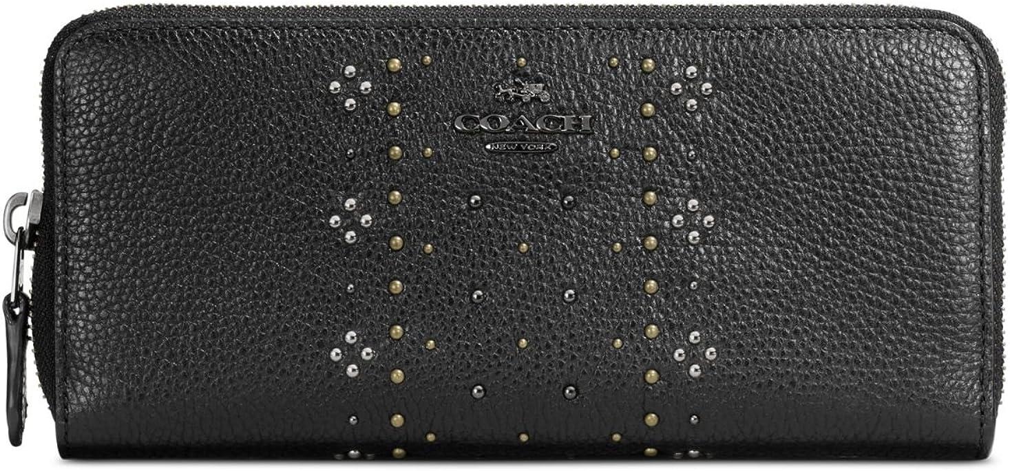 NWT COACH Bandana Rivets CHALK Pebble Leather ACCORDION WALLET 55726