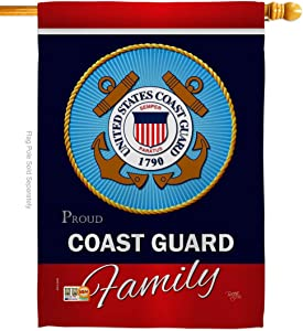"Breeze Decor H108413-BO Coast Guard Proudly Family Americana Military Veteran Decorative Gift Vertical 28"" x 40"" Double Sided House Flag Made in USA"