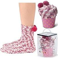 JARSEEN 2 Geschenk-Box Kuschelsocken Weiche Bequeme Warme Flauschige Haussocken für Damen Mädchen Weihnachtssocken