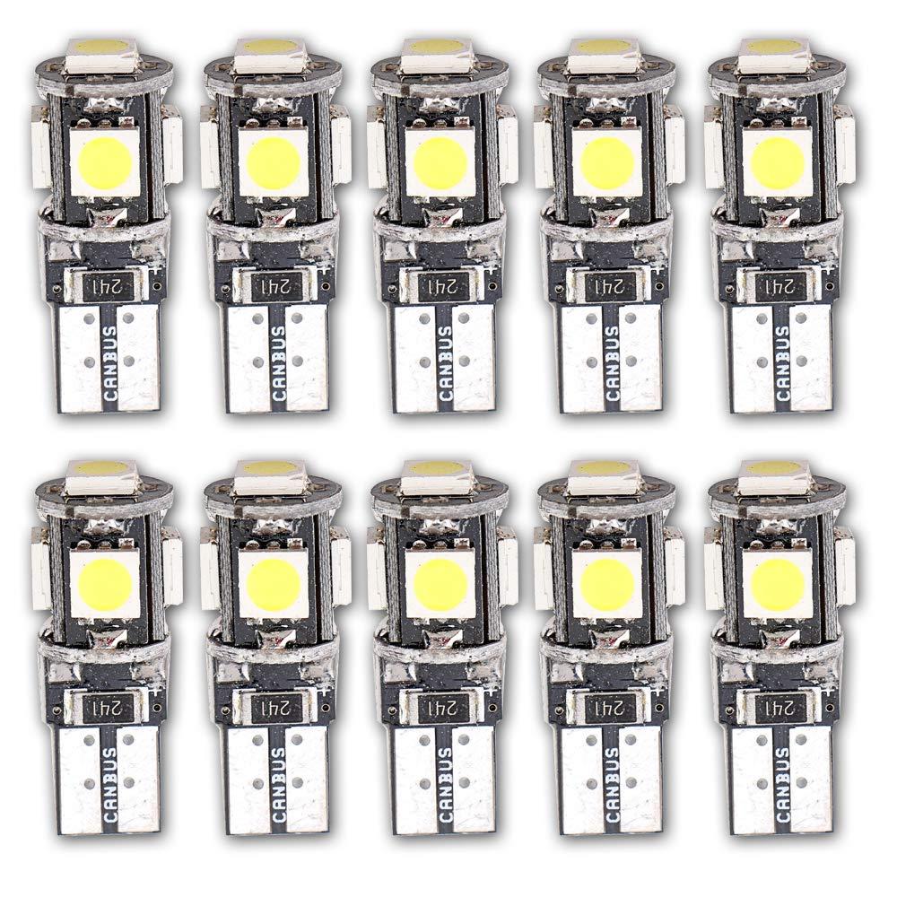 Grandview 10pcs Blanco T10 501 LED Canbus 5050 5-SMD W5W 194 168 2825 cuñ a T10 luz interior del coche salpicadero luz lateral del maletero luces de matrí cula bombilla (DC 12V)