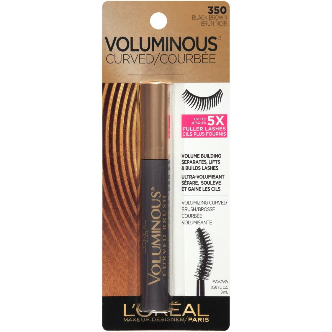 d9029fe50a5 Amazon.com: L'Oreal Paris Makeup Voluminous Original Volume Building Curved  Brush Mascara, Black, 0.28 fl. oz.: Beauty