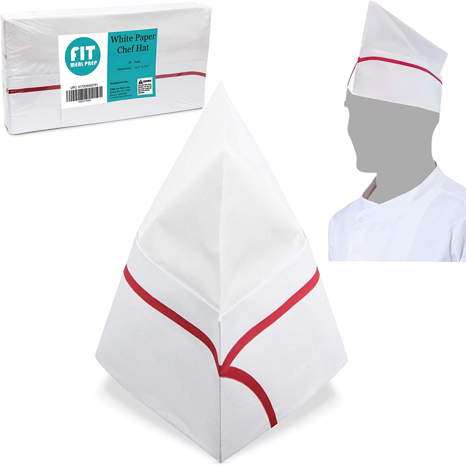 White Paper Chef Hat - Disposable Soda Jerk Cap for Food Server