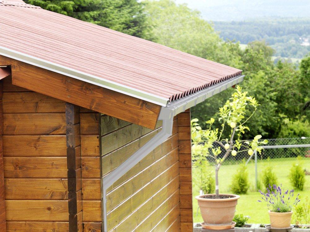 Dachrinne 45/° Grau Kunststoff INEFA Rohrbogen DN 75 Regenrinne