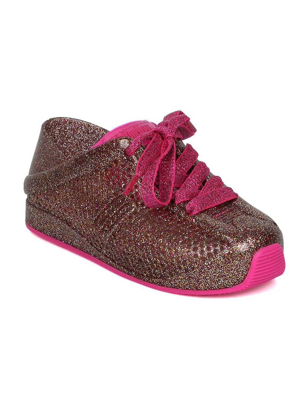 Melissa Mini Mini Love System PVC Perforated Lace up Sneaker HC08 - Glass Pink (Size: Toddler 7)