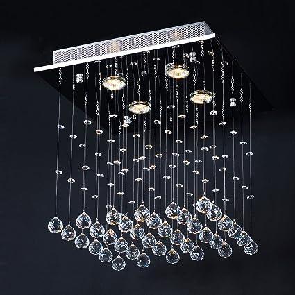 Jago- Lámpara Araña con Colgantes de Cristal Lámpara de Techo Lámpara Colgante Iluminación 40/40/40 cm A++ Hasta E