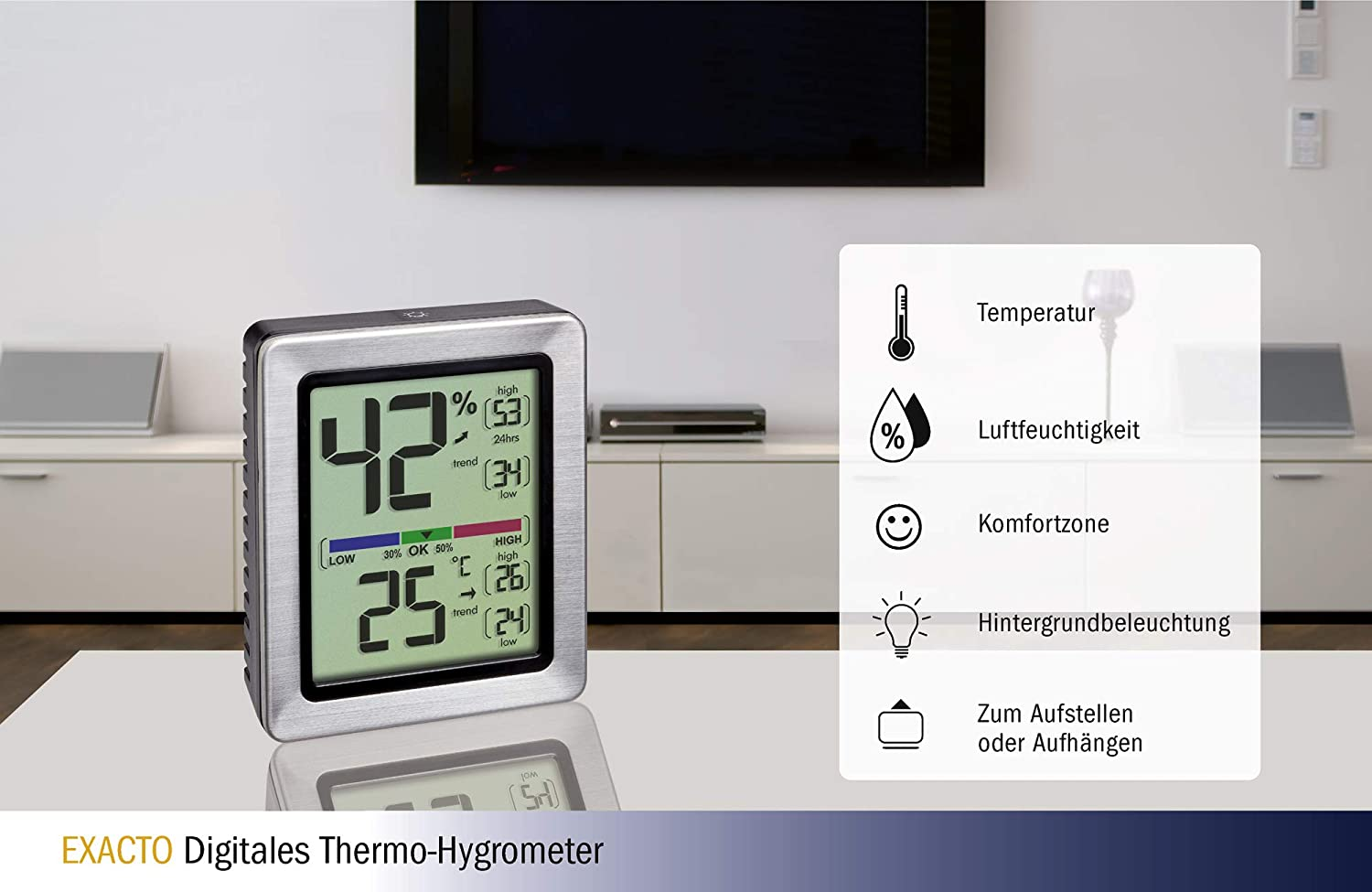 Indoor TFA-Dostmann Digital Thermo-Hygrometer Exacto 26 74 x 30.5047.54 B 90 mm L H incl Precision Sensor Accurate Temperature and Humidity 48 Silver, x