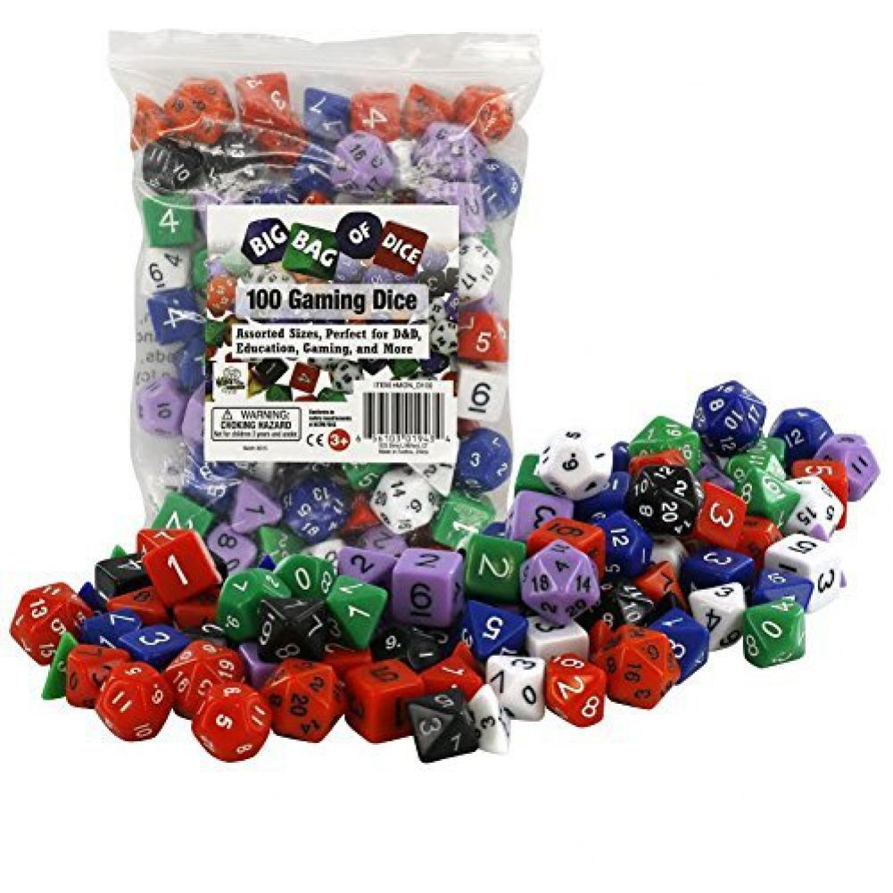 100 Gaming Dice by Monster - Assorted Sizes, Perfect for D&D, Education, Gaming SCS Direct