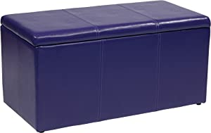 OSP Home Furnishings Metro 3-Piece Bench and Ottoman Cube Set in Vinyl, Purple