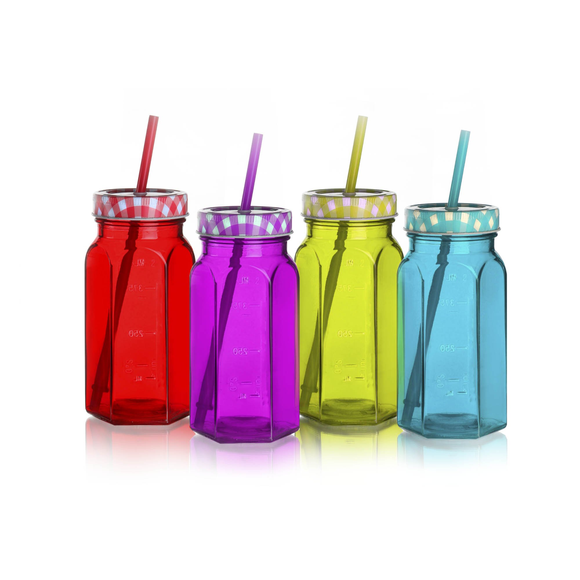 Style Setter Gingham Assorted Colored Jars with Lids & Straws (Set of 4), Multicolor