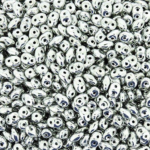 Czech Superduos 2-hole Crystal Super Duo Seed Beads 5.5x2.5mm Silver - Full Labrador 22 Grams