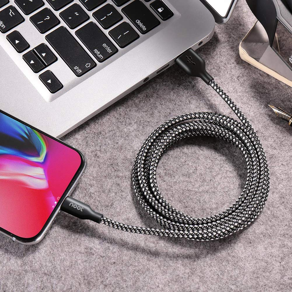 noot products Lightning Charger Cable Compatible for iPhone Xs//XS Max//XR//X//10//8//8 Plus//7//7 Plus//6//6 Plus//5S//5//5c iPad Mini//Air//Pro-Nylon Braided Apple MFI Certified Charging Cord