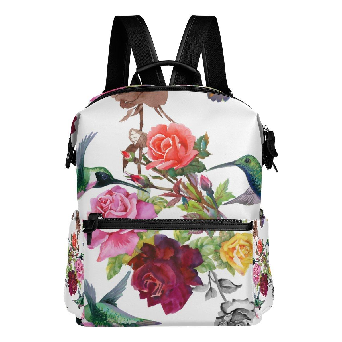 COOSUN Colibríes con las de flores escuela de las la mochila del morral del recorrido Multi 17067a