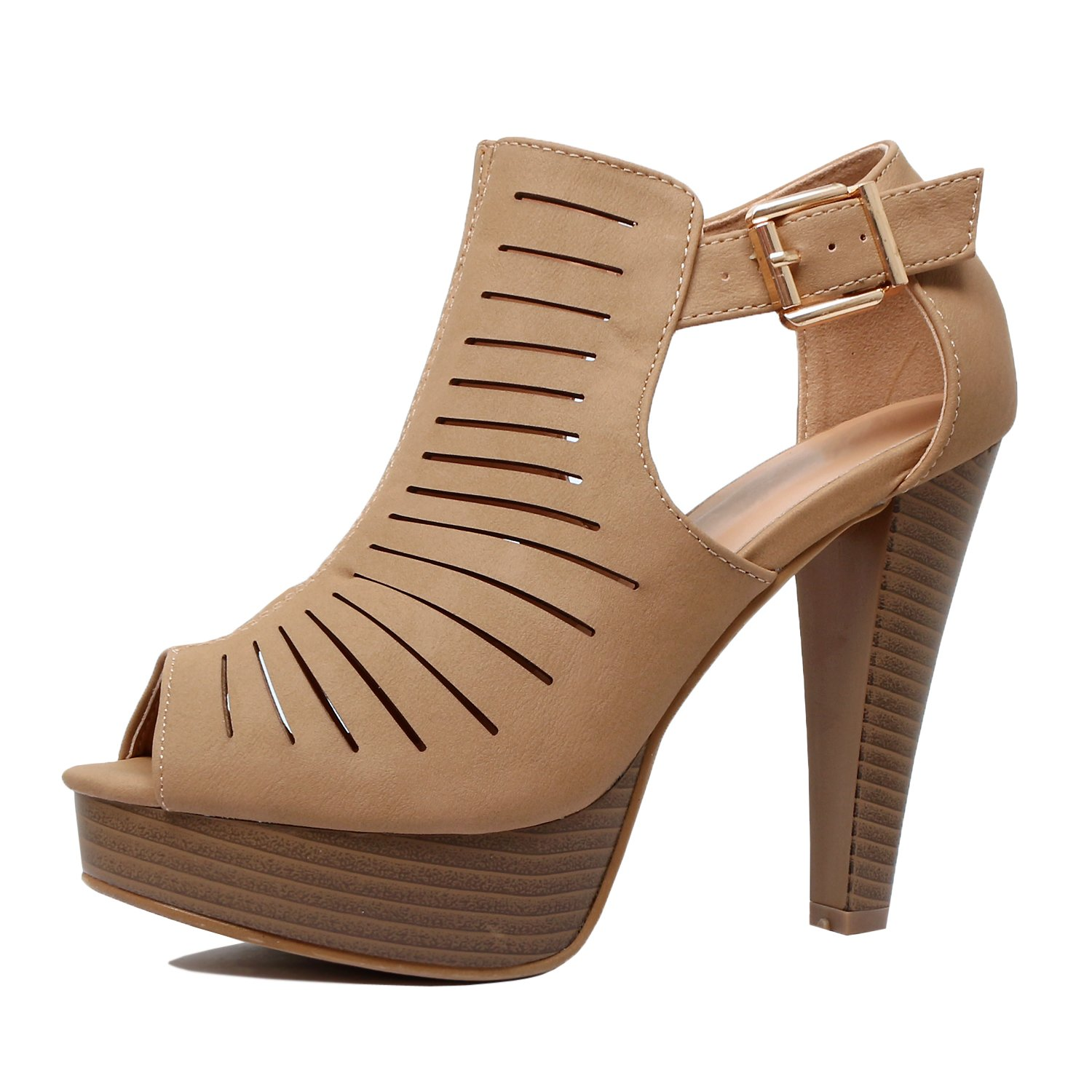 Guilty Shoes Cutout Gladiator Ankle Strap Platform Fashion Heeled Sandals, Tan Pu, 8.5