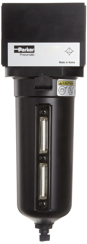 Polycarbonate Bowl 24 scfm Parker 14F15BB Compressed Air Filter 1//4 NPT 5 Micron Removes Particulate Auto Pulse Drain