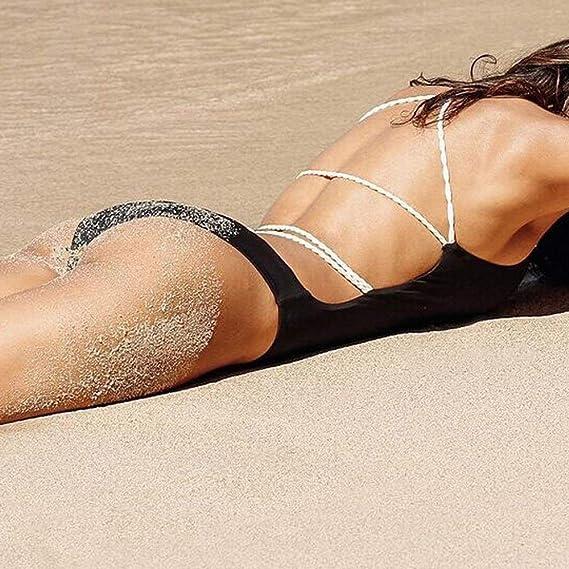 625a29cb27 HGWXX7 Womens Summer One Piece Sexy Solid Bandage Thong Swimsuit Bathing  Bikini at Amazon Women's Clothing store: