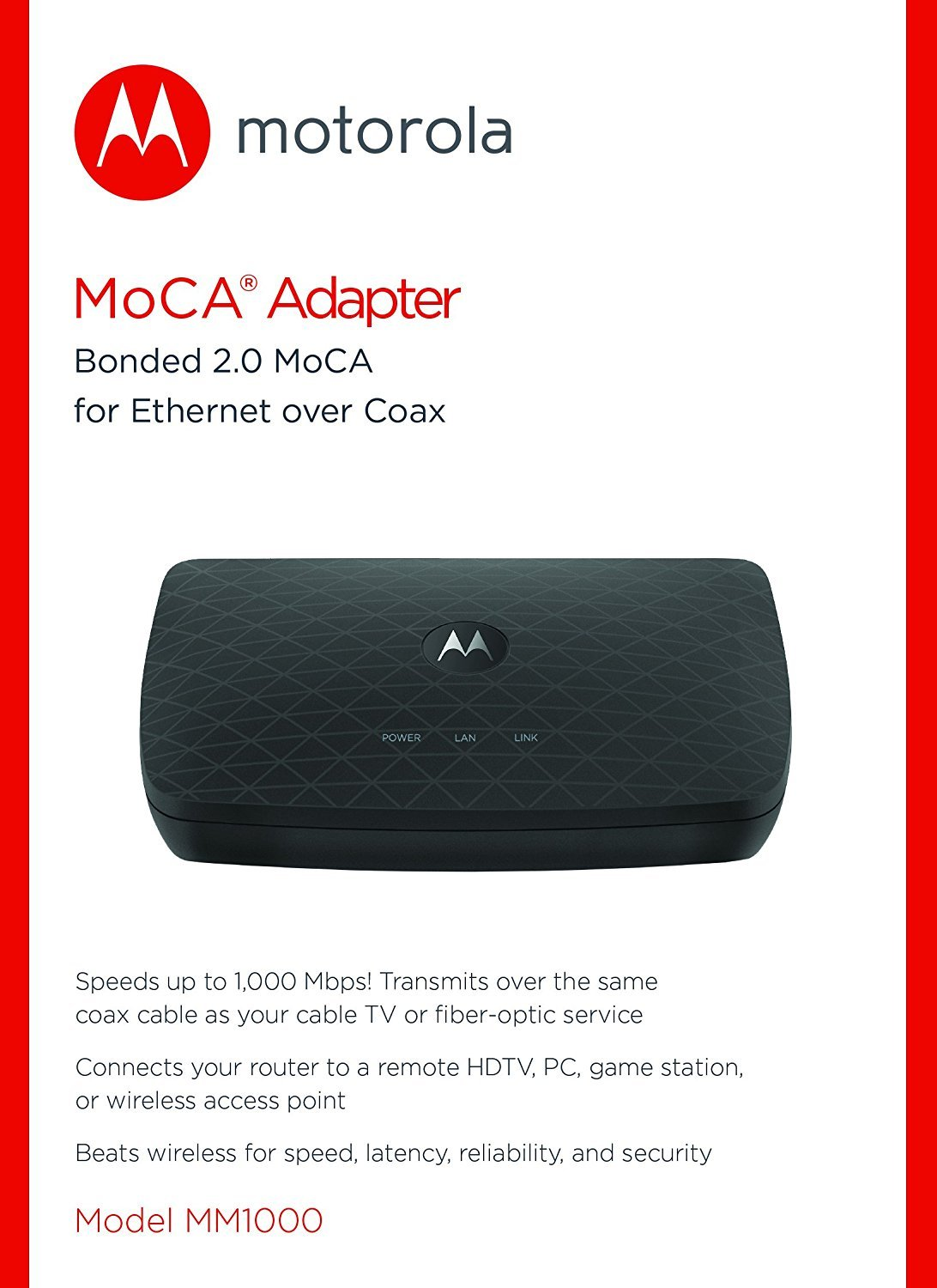 Motorola Moca Adapter For Ethernet Over Coax 1000 Mbps Verizon Fios Home Wiring Diagram Bonded 20 Model Mm1000 Computers Accessories