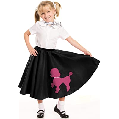 Kidcostumes Black Poodle Skirt with Musical Note Printed Scarf: Toys & Games