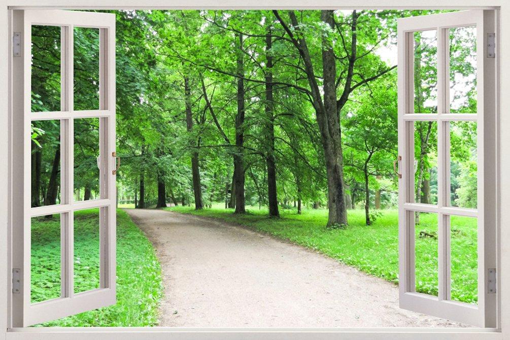 取り外し可能な大型3Dビニル製樹脂プリントウォールステッカー 自然の広がるおしゃれでユニークな窓の奥行きある自然風景デザイン サイズ85.09 × 119.38 cm B00OHYN552WIN-208