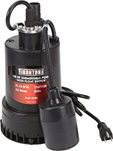 Ironton Submersible Water Pump with Float Switch and Auto On/Off - 1,268 GPH, 1/8 HP, 1in. Port, Model Number 108981