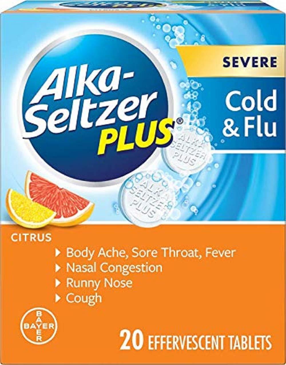 Alka-Seltzer Plus Severe Cold & Flu Effervescent, Citrus, 20 Count