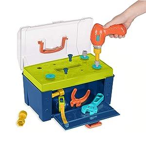Battat – Battat Busy Builder Tool Box – Durable Kids Tool Set – Pretend Play Construction Tool Kit for Kids 3 years+(20-Pcs)