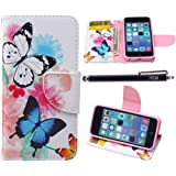 iPhone 5C Case, iPhone 5C Case Wallet, iYCK Premium PU Leather Flip Folio Carrying Magnetic Closure Protective Shell Wallet Case Cover for iPhone 5C with Kickstand Stand - Butterfly Flower