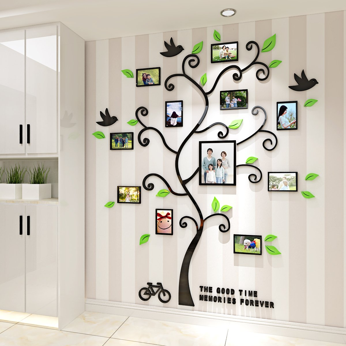 Alicemall Tree Wall Stickers Family Hope Tree of Life Black 3D Wall Decals Photo Frame Acrylic Decorative Wall Sticker Wall Art, 57 x 69 inch (Black) by Alicemall (Image #4)