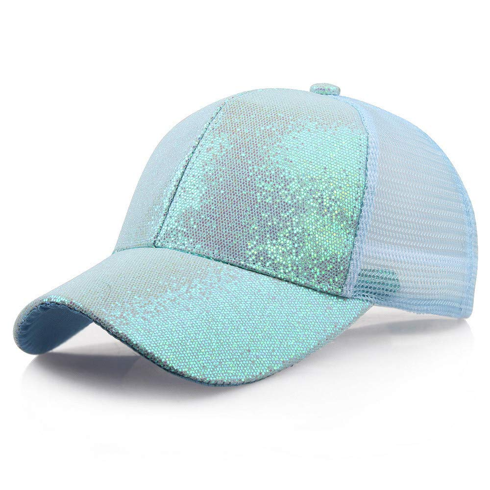 Quaanti Clearance Price!Women Girl Ponytail Baseball Cap Sequins Shiny Messy Bun Snapback Hat Sun Caps  (Blue)
